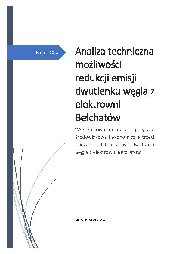 Analiza techniczna możliwości redukcji emisji dwutlenku węgla z elektrowni Bełchatów (2018)